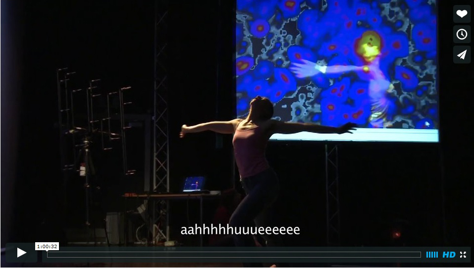 "colour photo of female performer wearing pink vest top, arms outstretched to sides, head tipped back, screen in background with abstract blue, black, red and yellow image, text with ""aahhhhhuuueeeeee"" at bottom of photo"